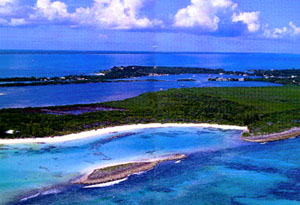 Overhead shot of Green Turtle Cay, a very popular cruising destination.
